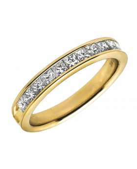 14K Yellow Gold Invisible Princess Genuine Diamond Ring Band 0.75 ct