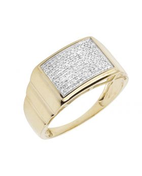 10K Yellow Gold Men's Square Real Diamond Step Shank Ring 0.33 ct