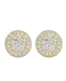 Yellow Gold Round Cluster Diamond Stud Earrings 16MM 4 CT