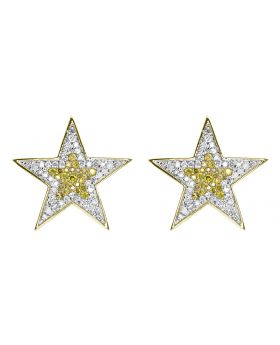 18mm Star Earrings in Yellow Gold with Yellow and White Diamonds (0.75 ct)