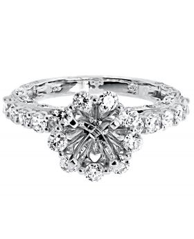 Floral Semi Mount Engagement Ring in White Gold (1.71 ct)