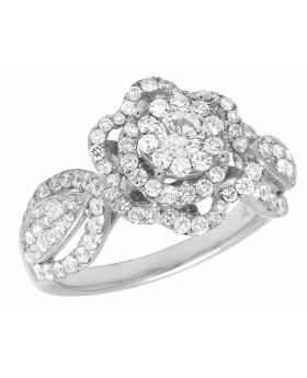 Ladies 14K White Gold Real Diamond Flower Cluster Engagement Ring 1.96CT