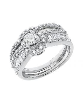 14k White Gold Round Diamond Solitaire 3 Pc Ring Set (1.10 ct)