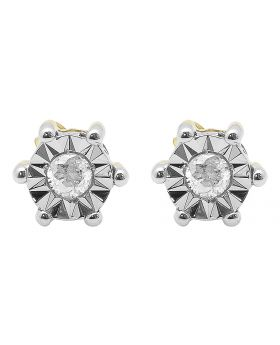 6mm Round Diamond Fanook Studs in yellow Gold (0.20 ct)