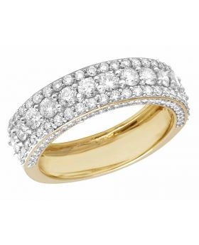 10K Yellow Gold Real Diamond Men's 3D Wedding Band Ring 3 CT 7MM