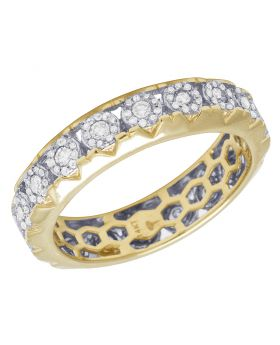Mens 14K Yellow Gold 1 Row Halo Cluster Diamond Eternity Ring Band 1CT