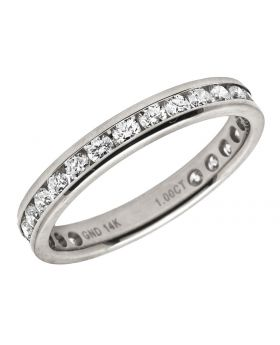 Ladies 14K White Gold One Row Eternity Wedding Band Ring 1.0 Ct