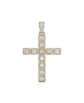 10K Yellow Gold Real Diamond Baguette Cross Pendant 6.5 CT 3""