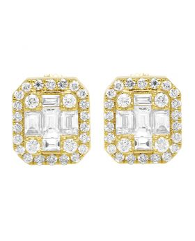 14K Yellow Gold Real Diamond Baguette Halo Rectangle Stud Earrings 10.5mm 1.0 CT