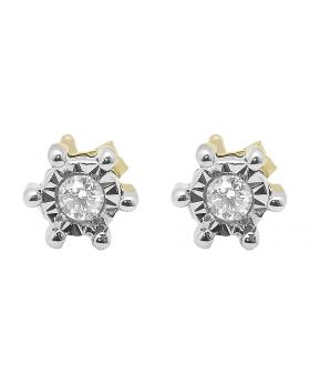 5mm Round Diamond Fanook Studs in yellow Gold (0.15 ct)