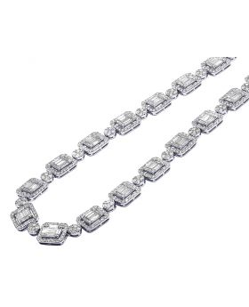 """Mens 18K White Gold Baguette Choker Real Diamond Chain Ladies Necklace 24.75CT 17"""""""