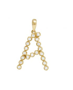 """10K Yellow Gold Real Diamond Initial A Pendant 0.25 CT 1"""""""
