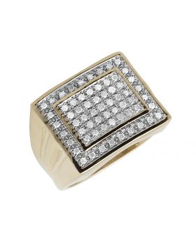 10K Yellow Gold Double Square Real Diamond Men's Ring 0.50ct 16MM