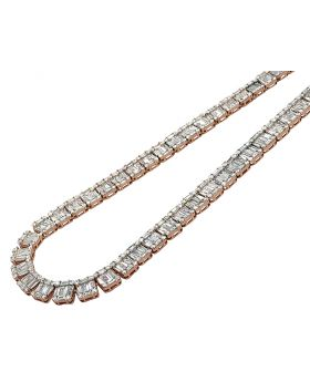 "14K Rose Gold VS Diamond 8mm Baguette Invisible Set Tennis Chain 21"" 33.5 CT"