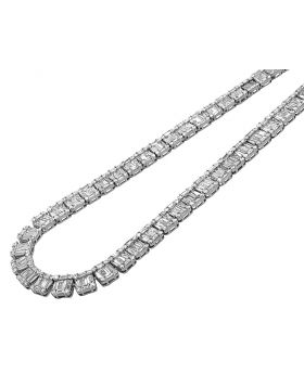 "14K White Gold VS Diamond 8mm Baguette Invisible Set Tennis Chain 21"" 33.5 CT"