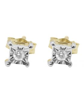 4mm Diamond Square Fanook Studs in Yellow Gold (0.05 ct)