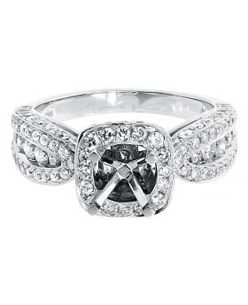 Round Channel Diamond Semi Mount Engagement Ring in White Gold (2.06 ct)