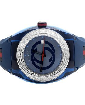 Mens Analog Gucci Sync Blue 46MM Diamond Watch YA137104 (1.25 Ct)