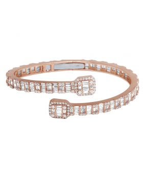 14k Rose Gold Diamond Baguette Bangle 7.1CT