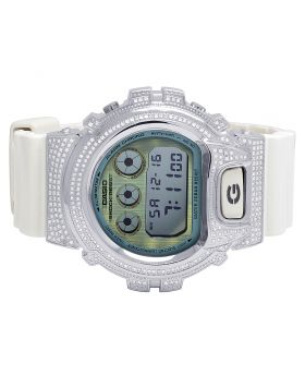 Unisex Casio G Shock White Glossy 6900 White Diamond Watch 3.0 Ct