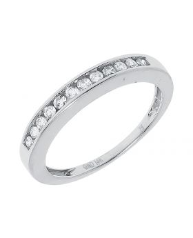 3mm White Gold Channel Wedding Band (0.11 ct)