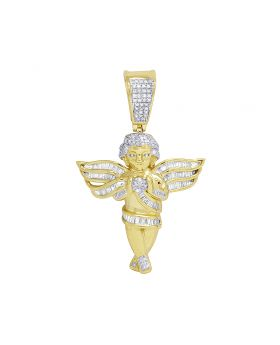 """10K Yellow Gold Real Diamond Angel Baguette Wing Pendant 1.6"""" 0.50CT"""