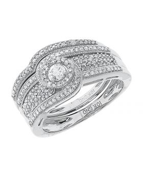 10k White Gold Solitaire Diamond Prong Bridal Ring Set (0.50 ct)