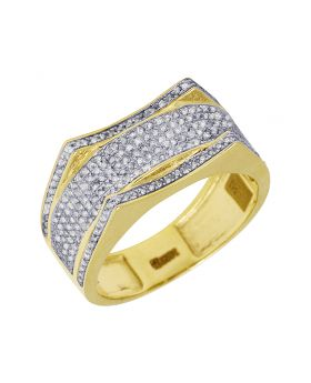 Mens Yellow Gold Wave Curve Diamond Pave Pinky Ring 0.6 CT