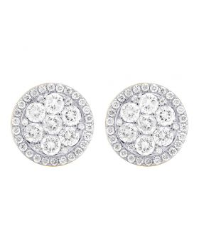 14K Yellow Gold Real Diamond Round Cluster Studs Earring 1.5ct