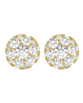 Yellow Gold Diamond Flower Cluster Stud Earrings 8MM 0.95CT