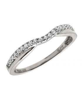 10K White Gold Genuine Diamond Accent Bridal Wedding Band 0.12 Ct