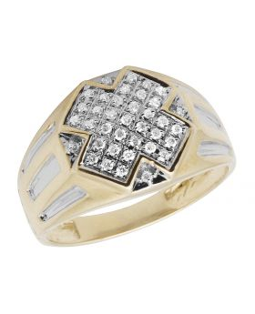 10K Two-Tone Gold Real Diamonds Men's Engagement Pinly Ring 0.33ct