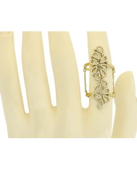 14k Yellow Gold Diamond Flower Fashion Knuckle Chain Ring (0.60 ct)