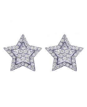 14K White Gold 13MM Diamond Star Stud Earrings 0.55CT
