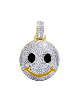 10K Yellow Gold Smiley Face Emoji Diamond Pendant 0.65Ct 1.1""
