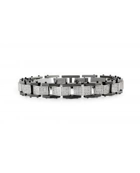 "Mens Genuine Diamond Folded Link Black Steel Bracelet BR9D by Arctica 9"" 3.35Ct"