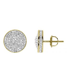 12mm Round Pave Diamond Earrings in Yellow Gold (0.75 ct)