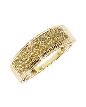 Mens Pave Band with Yellow Diamond (0.50 ct)