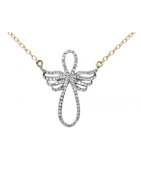 Ladies Yellow Gold Infinity Symbol-Shaped Angel Diamond Fashion Pendant with Chain (0.25ct)