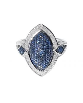 Marquise Shaped Blue Diamond Ring in Sterling Silver (1.0 ct)