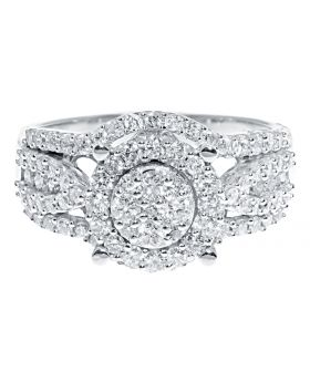 10k White Gold Round Diamond Cluster Engagement Wedding Ring (1.18 ct)
