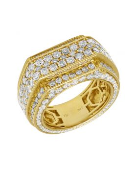 Mens 14K Yellow Gold Diamond Eternity Style Band Ring 13mm 5.25 CT