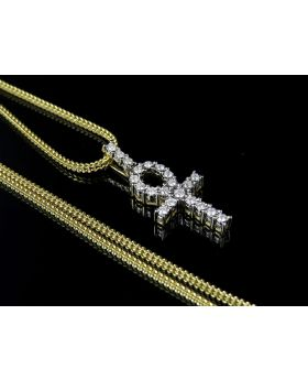 10K Yellow Gold Ankh Cross Genuine Diamond Pendant Charm Chain Combo 0.34ct
