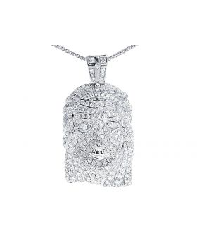 "Fully Iced Out Diamond Mini Jesus Pendant 1"" in White Gold (1.65 ct)"