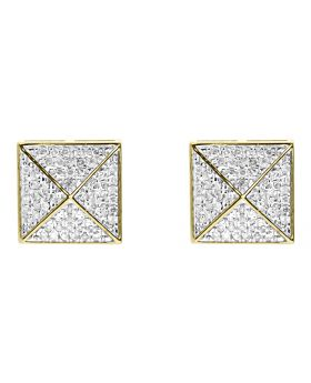 9mm Round Pave Diamond Square Earrings in 10k Yellow Gold (0.40 ct)