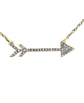 14K Yellow Gold Side-Ways Arrow Diamond Fashion Necklace Pendant with chain 0.15Ct