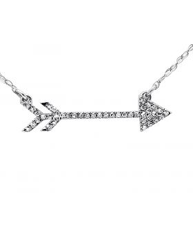 14K White Gold Side-Ways Arrow Diamond Fashion Necklace Pendant with chain 0.15Ct