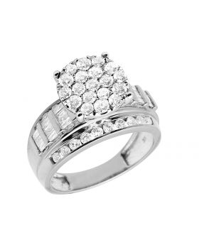 Ladies 10K White Gold Real Baguette Diamonds Engagement Ring 2.0ct