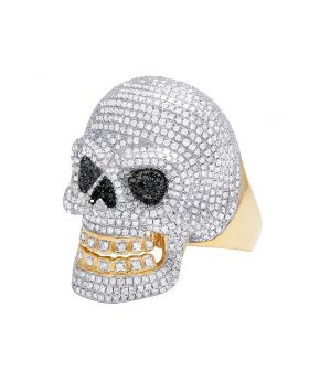 Men's 10K Yellow Gold Diamond Movable Jaw Skull Ring 3.31 CT 34MM