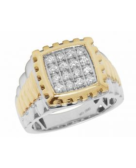 10K Two Tone Real Diamond Square Pinky Step Shank Ring 0.50ct 15MM